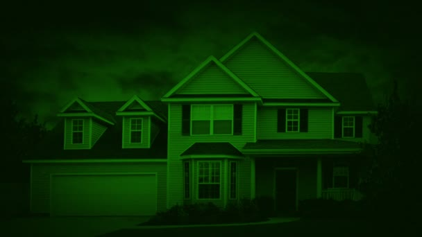 Nightvision House In Suburbs On Windy Night