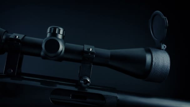 Scope On Rifle In Dark Room