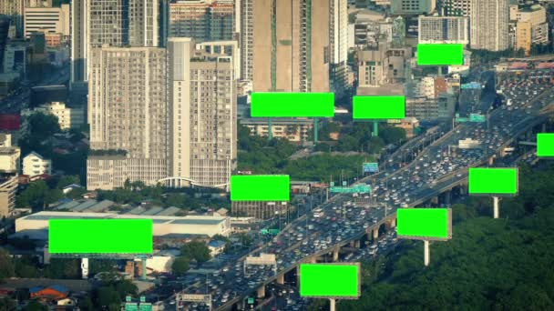 Green Screen Billboards In City Landscape