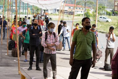 Dehradun, Uttarakhand/India - September 10 2020:Migrant people coming from different states due to corona pandemic.