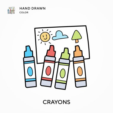 Crayons Hand drawn color icon. Modern vector illustration concepts. Easy to edit and customize