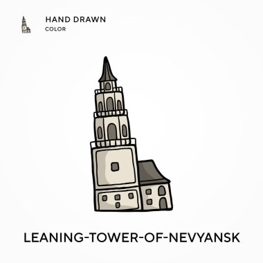 Leaning-tower-of-nevyansk Hand drawn color icon. Modern vector illustration concepts. Easy to edit and customize