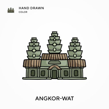 Angkor-wat Hand drawn color icon. Modern vector illustration concepts. Easy to edit and customize