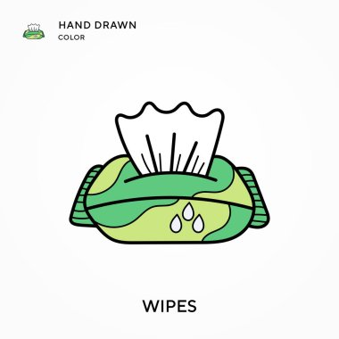Wipes Hand drawn color icon. Modern vector illustration concepts. Easy to edit and customize icon