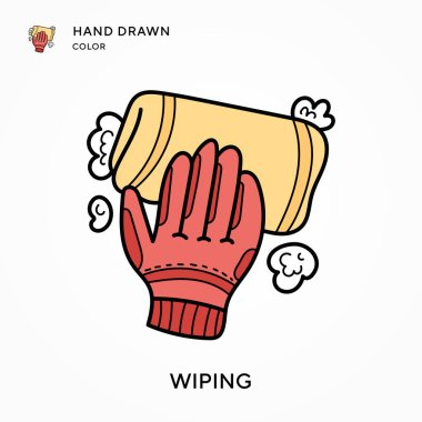 Wiping Hand drawn color icon. Modern vector illustration concepts. Easy to edit and customize icon