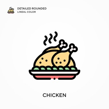 Chicken detailed rounded lineal color. Modern vector illustration concepts. Easy to edit and customize.
