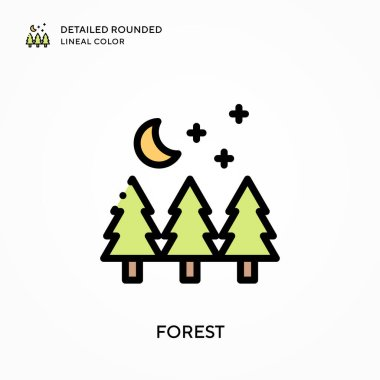 Forest detailed rounded lineal color. Modern vector illustration concepts. Easy to edit and customize.