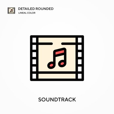 Soundtrack detailed rounded lineal color vector icon. Illustration symbol design template for web mobile UI element. Perfect color modern pictogram on editable stroke. Soundtrack icons for your business project