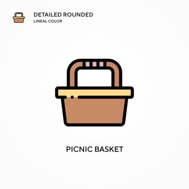 Picnic basket vector icon. Modern vector illustration concepts. Easy to edit and customize.