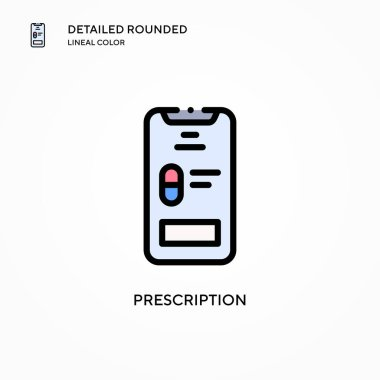 Prescription vector icon. Modern vector illustration concepts. Easy to edit and customize.
