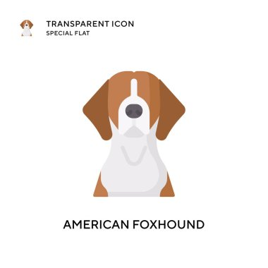 American foxhound vector icon. Flat style illustration. EPS 10 vector. icon