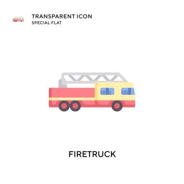 Firetruck vector icon. Flat style illustration. EPS 10 vector. icon