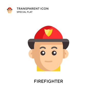 Firefighter vector icon. Flat style illustration. EPS 10 vector. icon