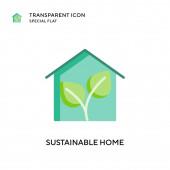 Ikona udržitelného domovského vektoru. Ilustrace plochého stylu. EPS 10 vektor.