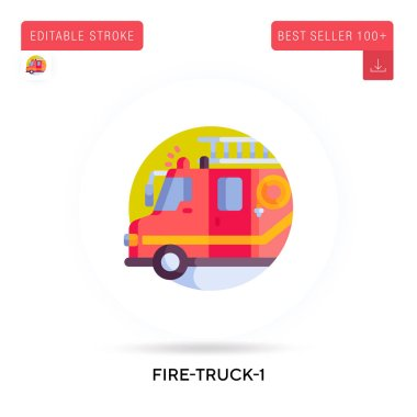 Fire-truck-1 detailed circular flat vector icon. Vector isolated concept metaphor illustrations. icon