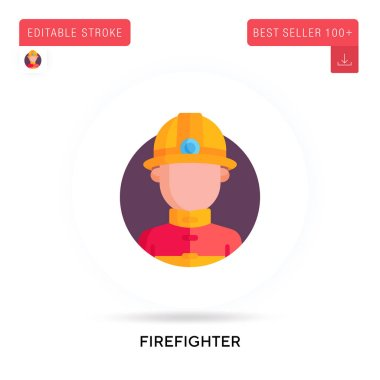 Firefighter detailed circular flat vector icon. Vector isolated concept metaphor illustrations. icon