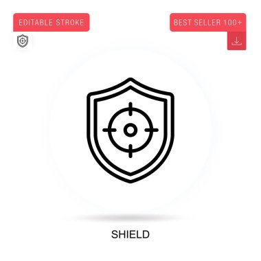 Shield vector icon. Vector isolated concept metaphor illustrations. icon