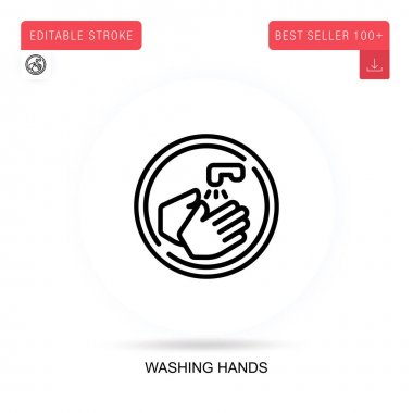 Washing hands flat vector icon. Vector isolated concept metaphor illustrations. icon