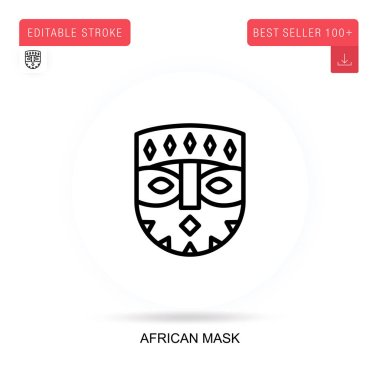 African mask flat vector icon. Vector isolated concept metaphor illustrations. icon