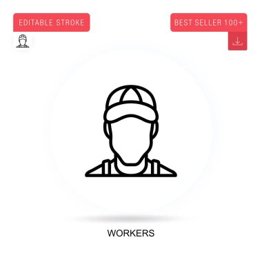 Workers flat vector icon. Vector isolated concept metaphor illustrations. icon