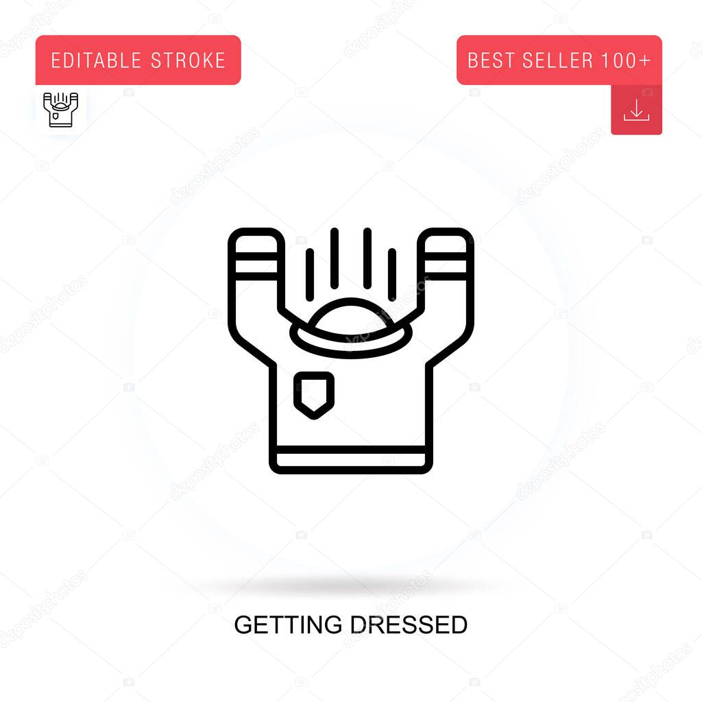 Getting dressed flat vector icon. Vector isolated concept metaphor illustrations. icon