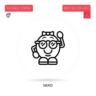 Nerd flat vector icon. Vector isolated concept metaphor illustrations. icon