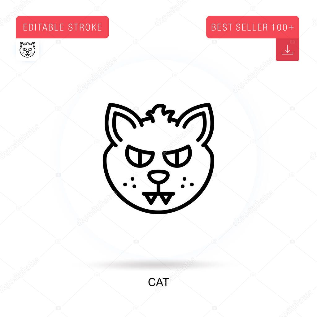 Cat flat vector icon. Vector isolated concept metaphor illustrations. icon