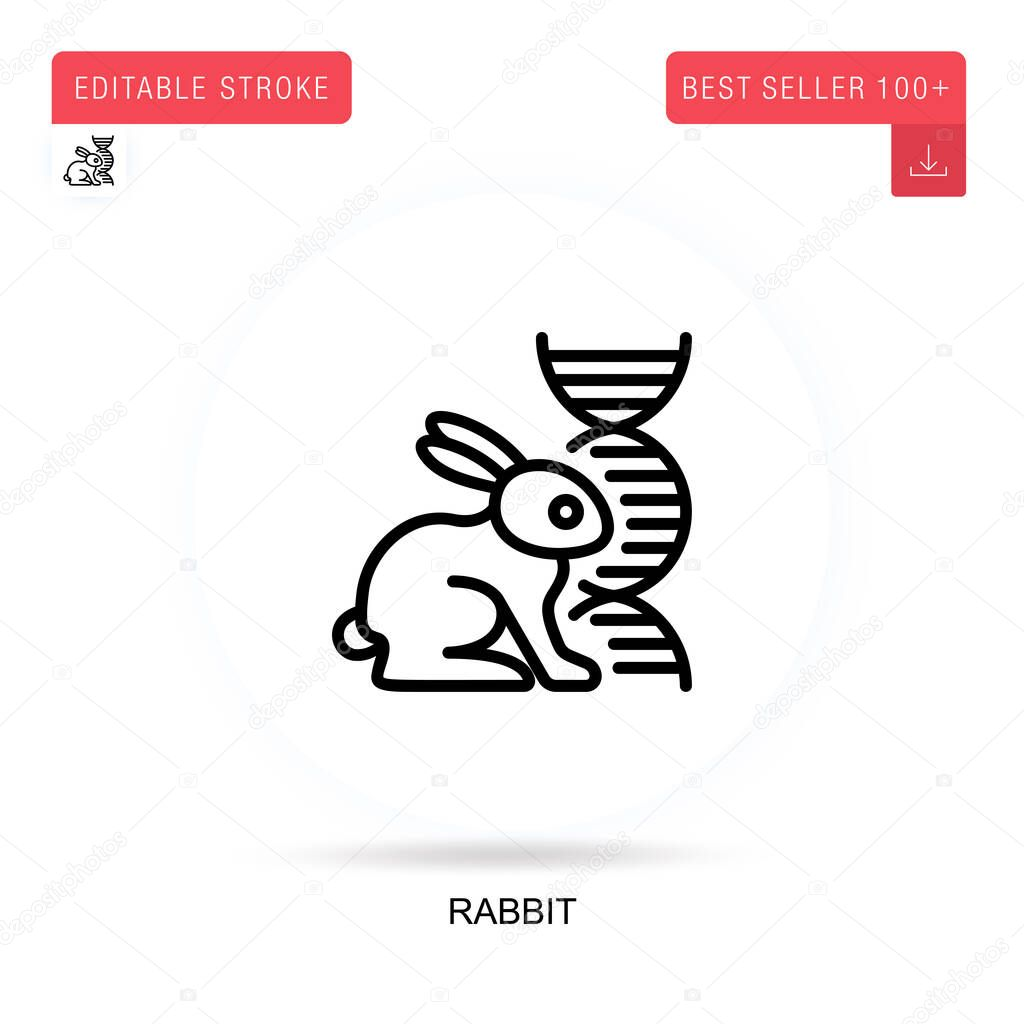 Rabbit flat vector icon. Vector isolated concept metaphor illustrations. icon
