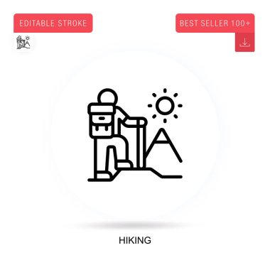 Hiking flat vector icon. Vector isolated concept metaphor illustrations. icon