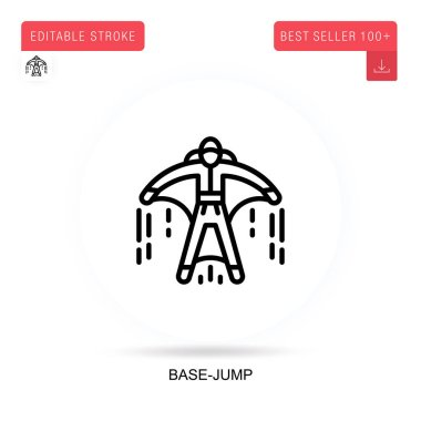 Base-jump flat vector icon. Vector isolated concept metaphor illustrations.