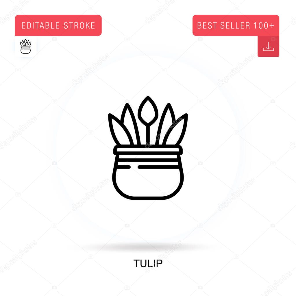 Tulip flat vector icon. Vector isolated concept metaphor illustrations. icon