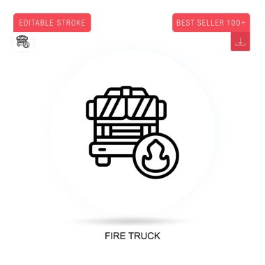 Fire truck flat vector icon. Vector isolated concept metaphor illustrations. icon
