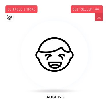 Laughing flat vector icon. Vector isolated concept metaphor illustrations. icon