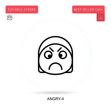 Angry-4 flat vector icon. Vector isolated concept metaphor illustrations. icon