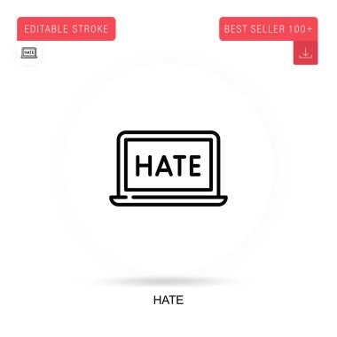 Hate flat vector icon. Vector isolated concept metaphor illustrations. icon