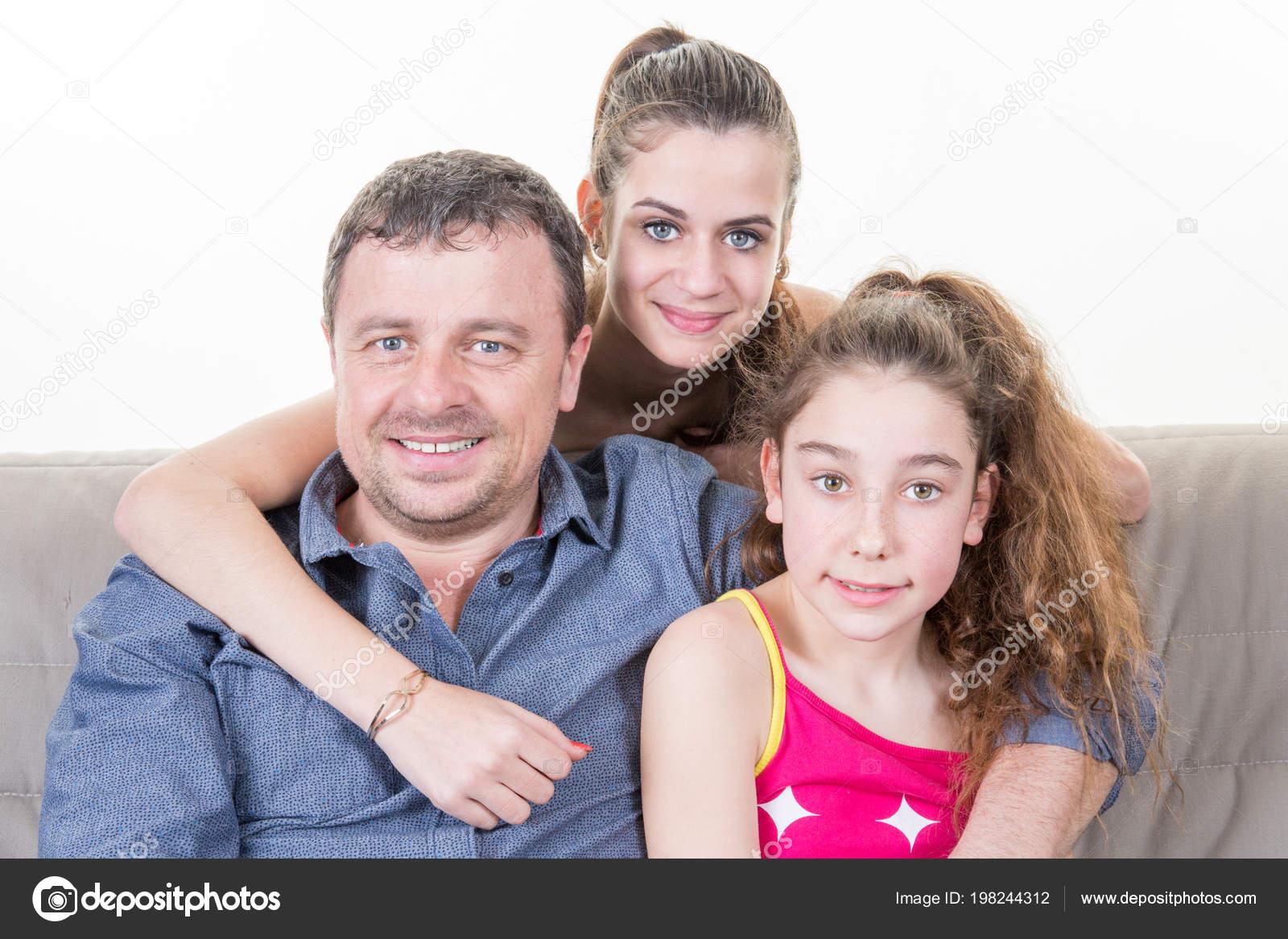 Familias Felices Solo Padre Con Hijos Hija Sofá Del Fondo