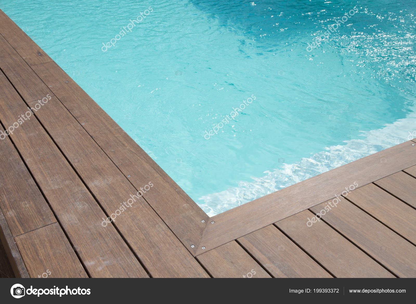 Detail Blue Liner Swimming Pool Wood Deck Stock Photo Image By Oceanprod 199393372