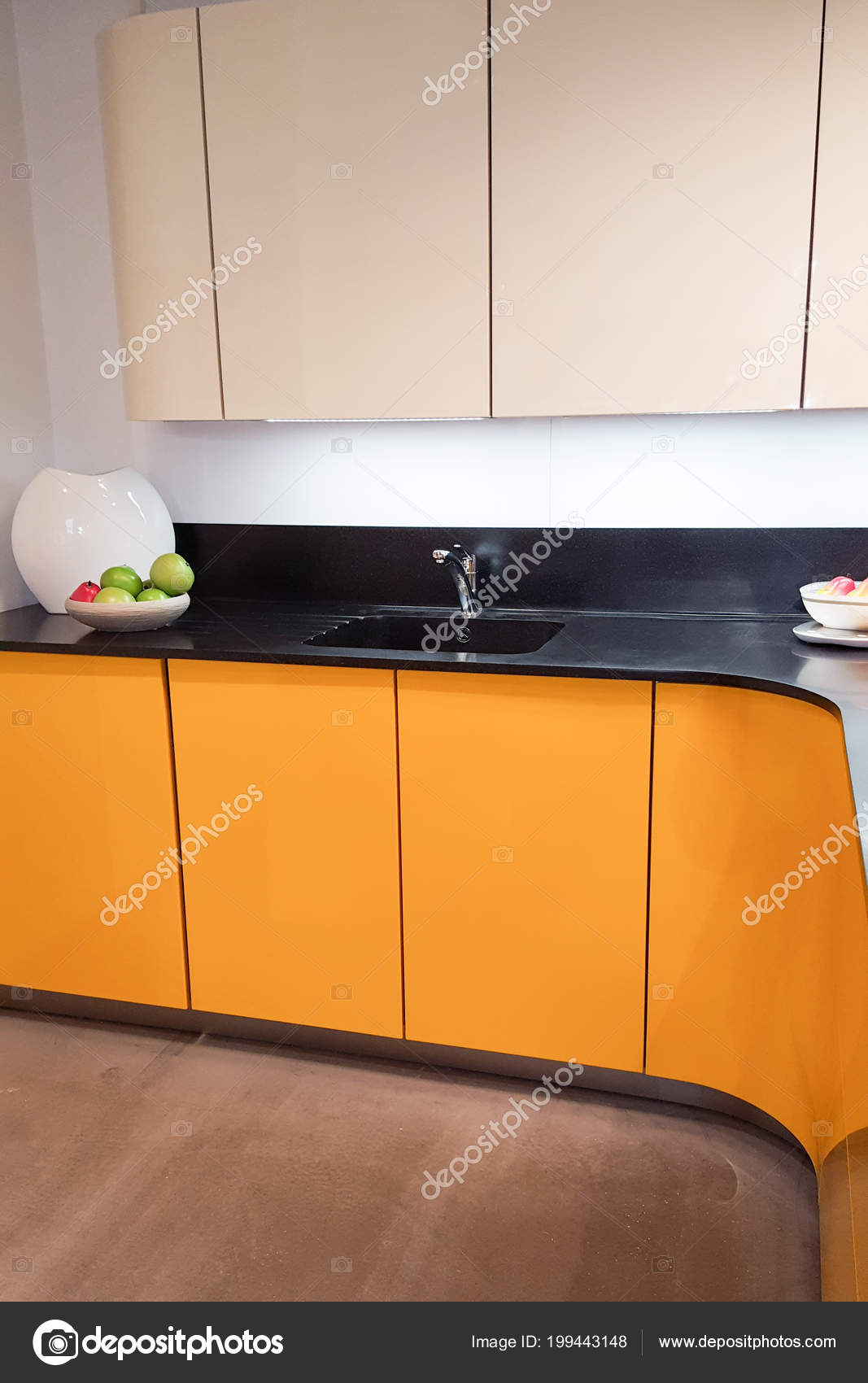 Cucina Moderna Arancione.Interni Colore Giallo Interni Casa Moderna Elegante Cucina