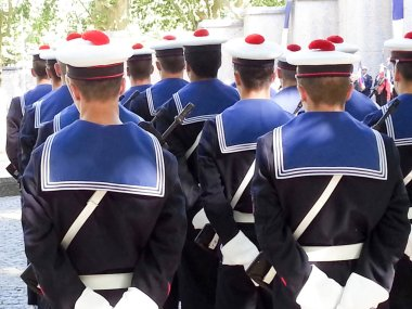 force army navy in france during parade