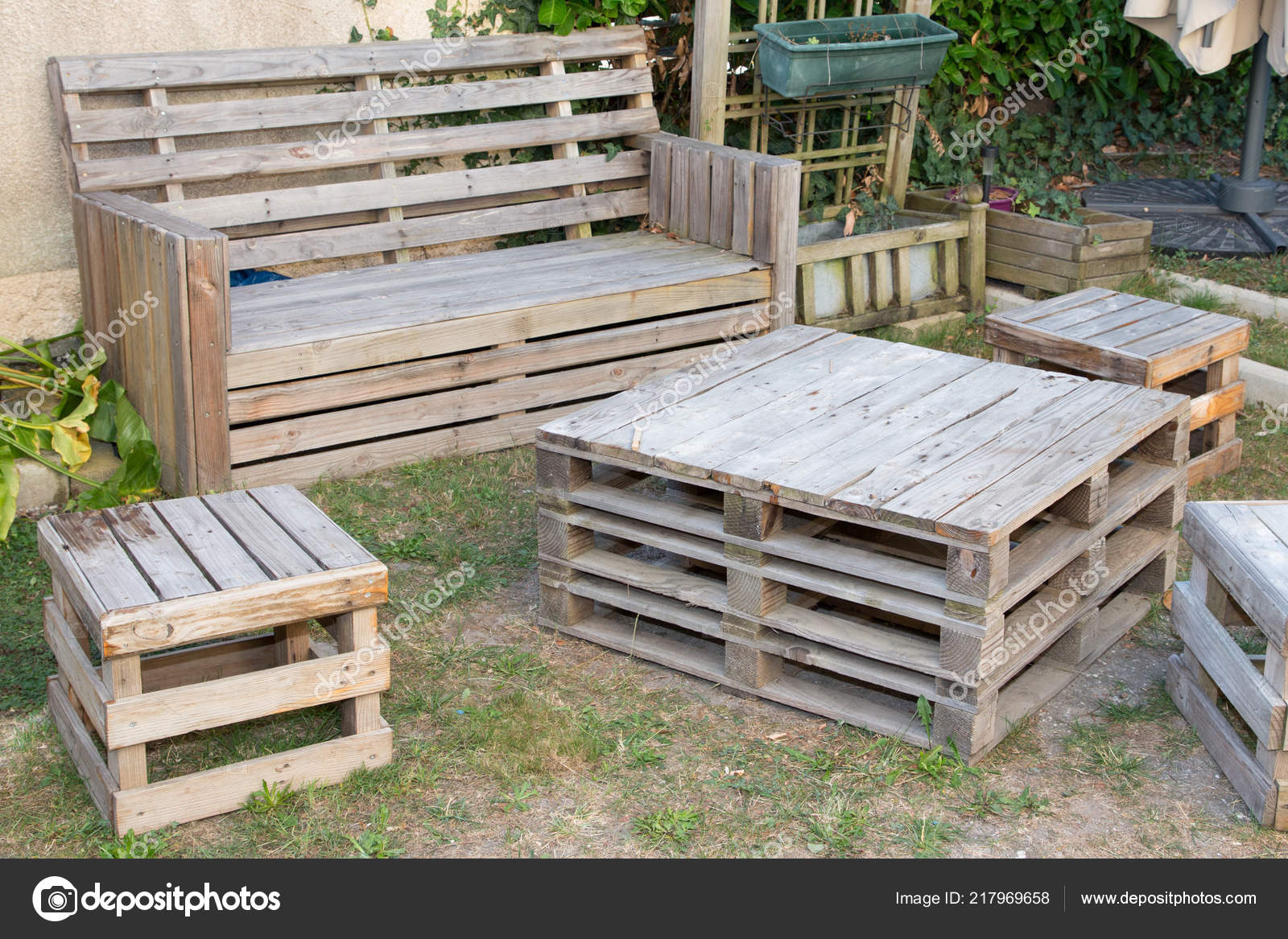 Vintage madera palets reciclados hacer mesa banco jard n - Tarimas de madera recicladas ...
