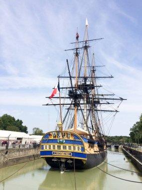Rochefort , Aquitaine / France - 10 02 2019 : frigate Hermione Lafayette TransAtlantic boat