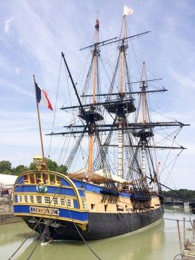 Rochefort , Aquitaine / France - 10 02 2019 : frigate Hermione Lafayette ancient new vessel