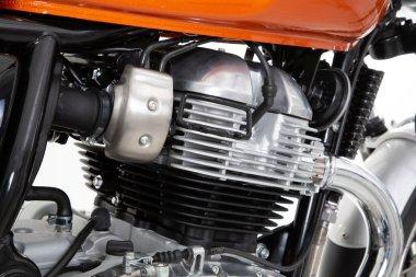 Motorcycle engine twin of old vintage motorbike motor detail bike