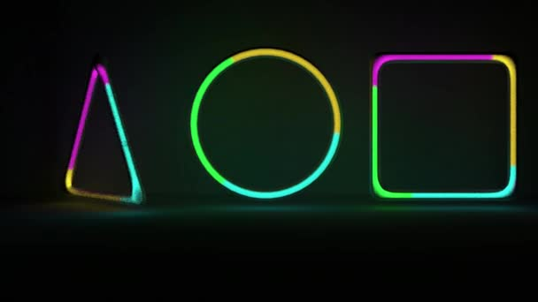Forme al neon con rumore di gas allinterno. tubi di gas rotante con