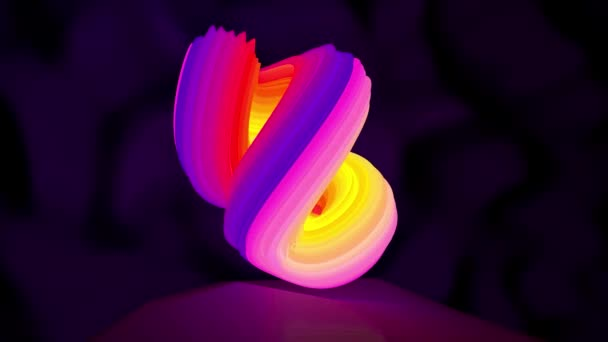 Animace rotace obrazce neon abstraktní logo. Bezešvá smyčka motion design