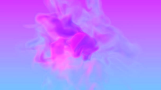 Turbulent swirl of two neon color smokes cyan and violet in retro disco style. Animation design of futuristic colorful blast. Motion of abstract glowing ink on colorful background.