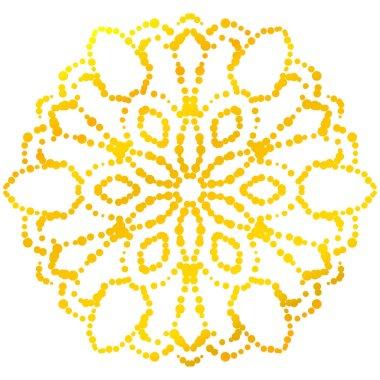 Gold dotted flower mandala. Decorative element. Ornamental round halftone isolated on white background. Geometric circle. Vector illustration.