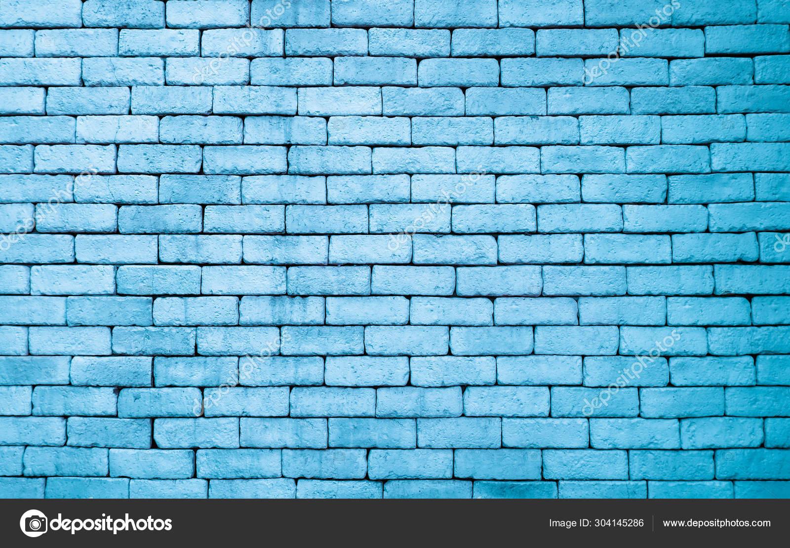 Blue Rough Brick Wall Grunge Texture Pattern Background Rural Room