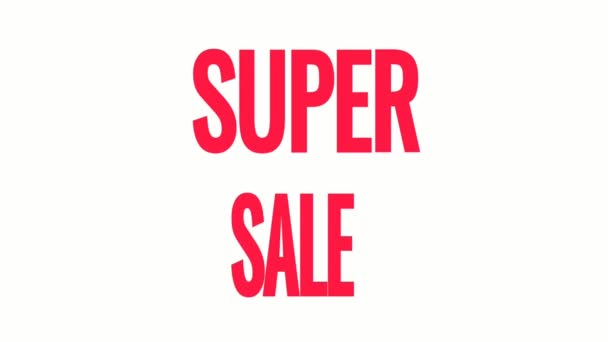 Super Sale Tag Animation Bewegungsgrafik. Werbebanner, Plakette, Aufkleber. animiertes lizenzfreies Archivmaterial. 4K-Video.