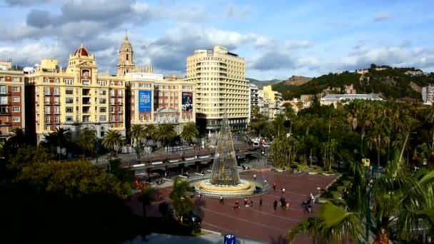 Malaga, Spain aerial skyline, city hall, old port in Malaga Spain